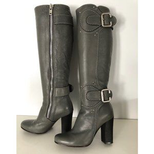 CHLOE Knee Boots 34 1/2 34.5 Gray Leather 35